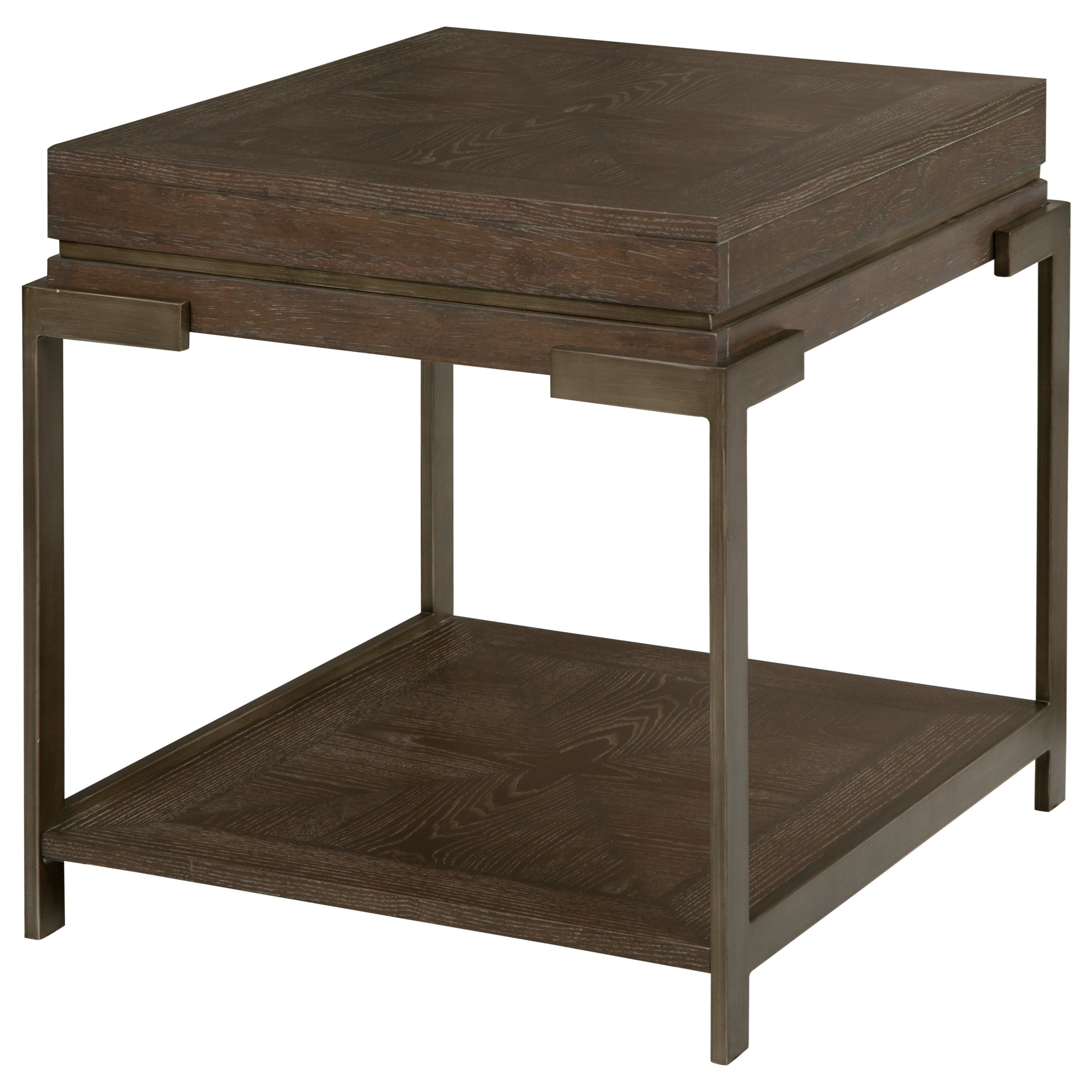 Industrial Rectangular End Table with Lower Shelf