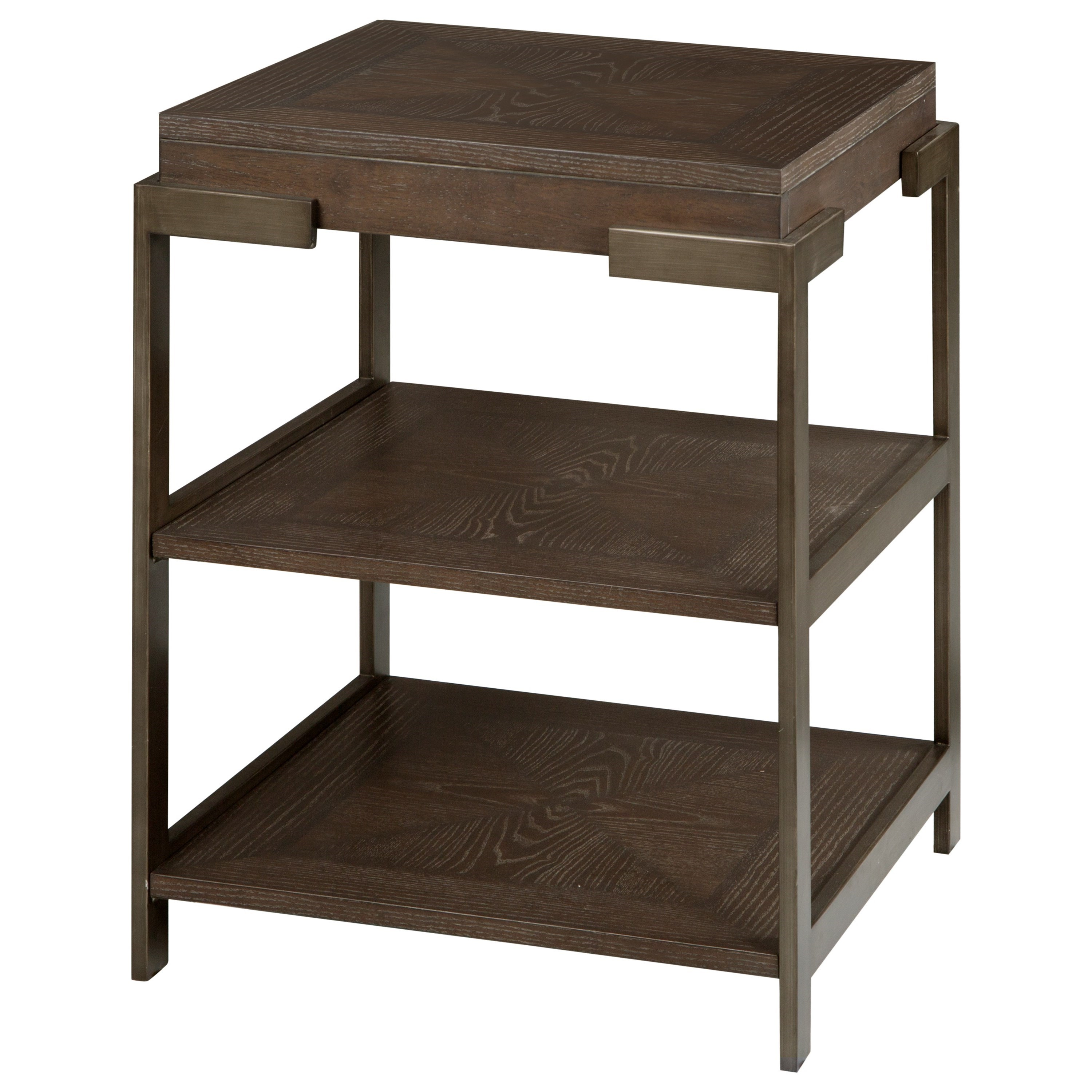 Industrial Square Accent Table with Two Shelves
