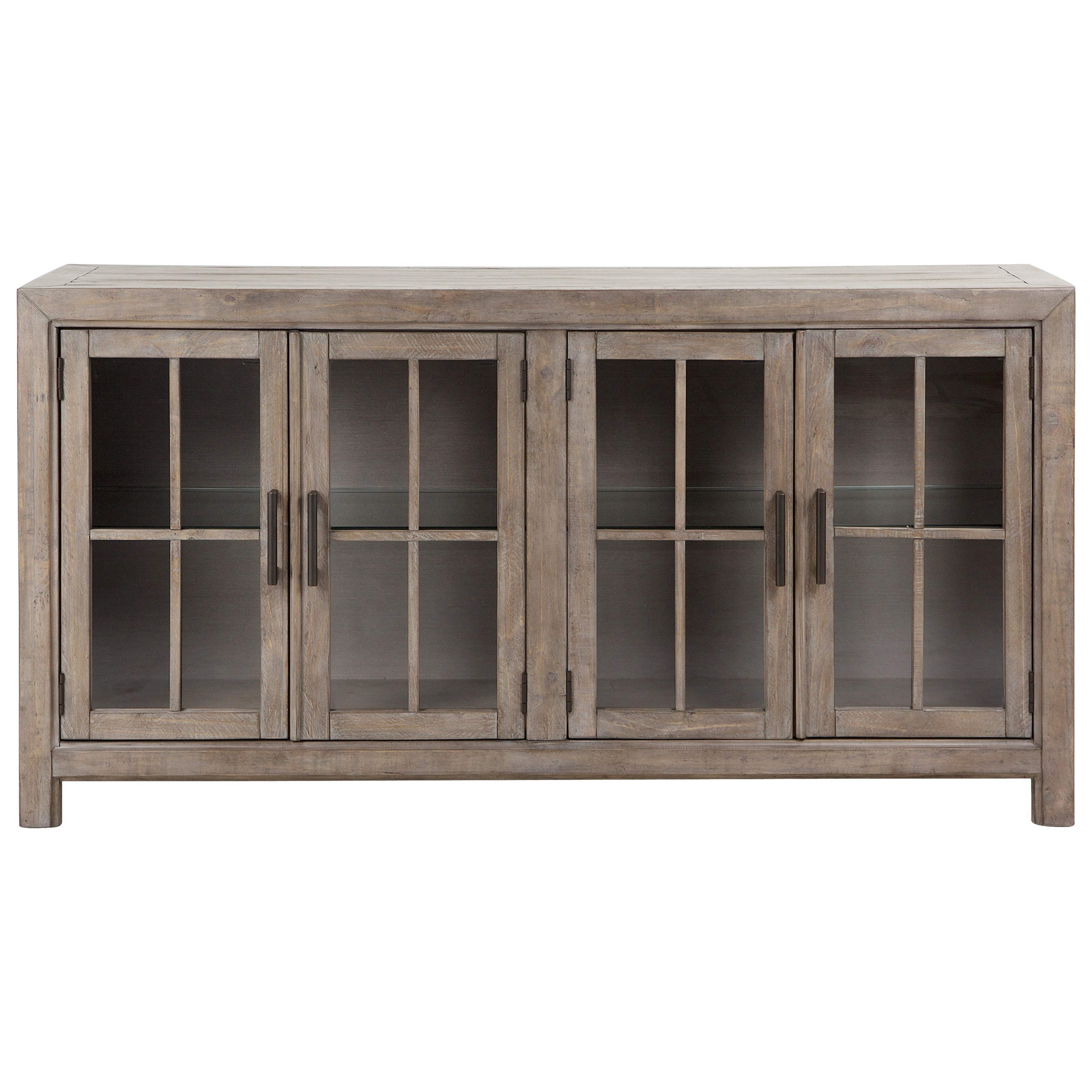 Relaxed Vintage Buffet Curio Cabinet with LED Lighting