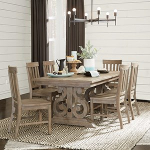 Relaxed Vintage Seven Piece Dining Table Set