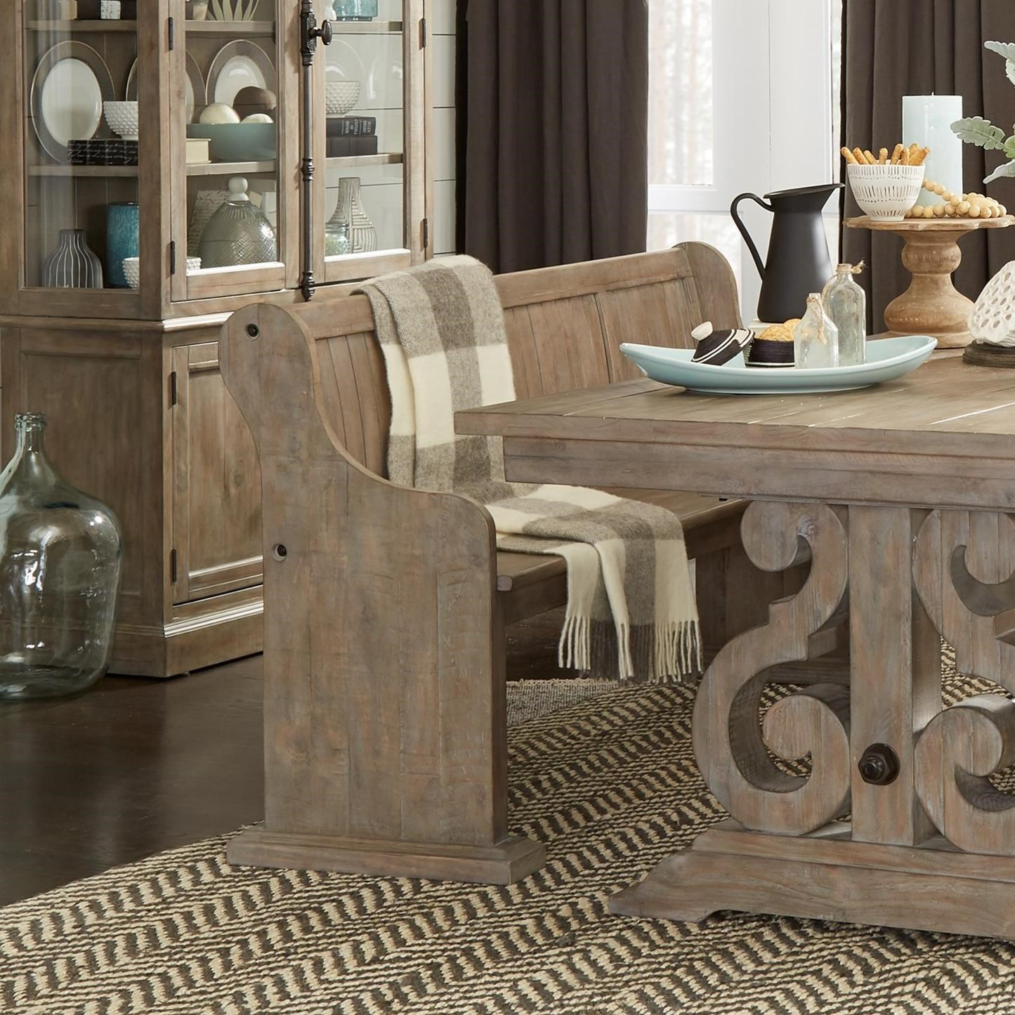 Relaxed Vintage Dining Bench with Back