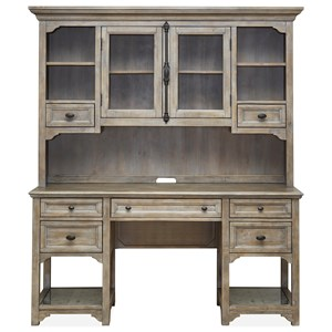 Relaxed Vintage Desk and Hutch with Glass-Framed Scroll Fretwork Detail