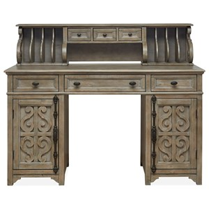 Relaxed Vintage Counter Height Standing Desk with Storage Hutch and Serpentine Carvings