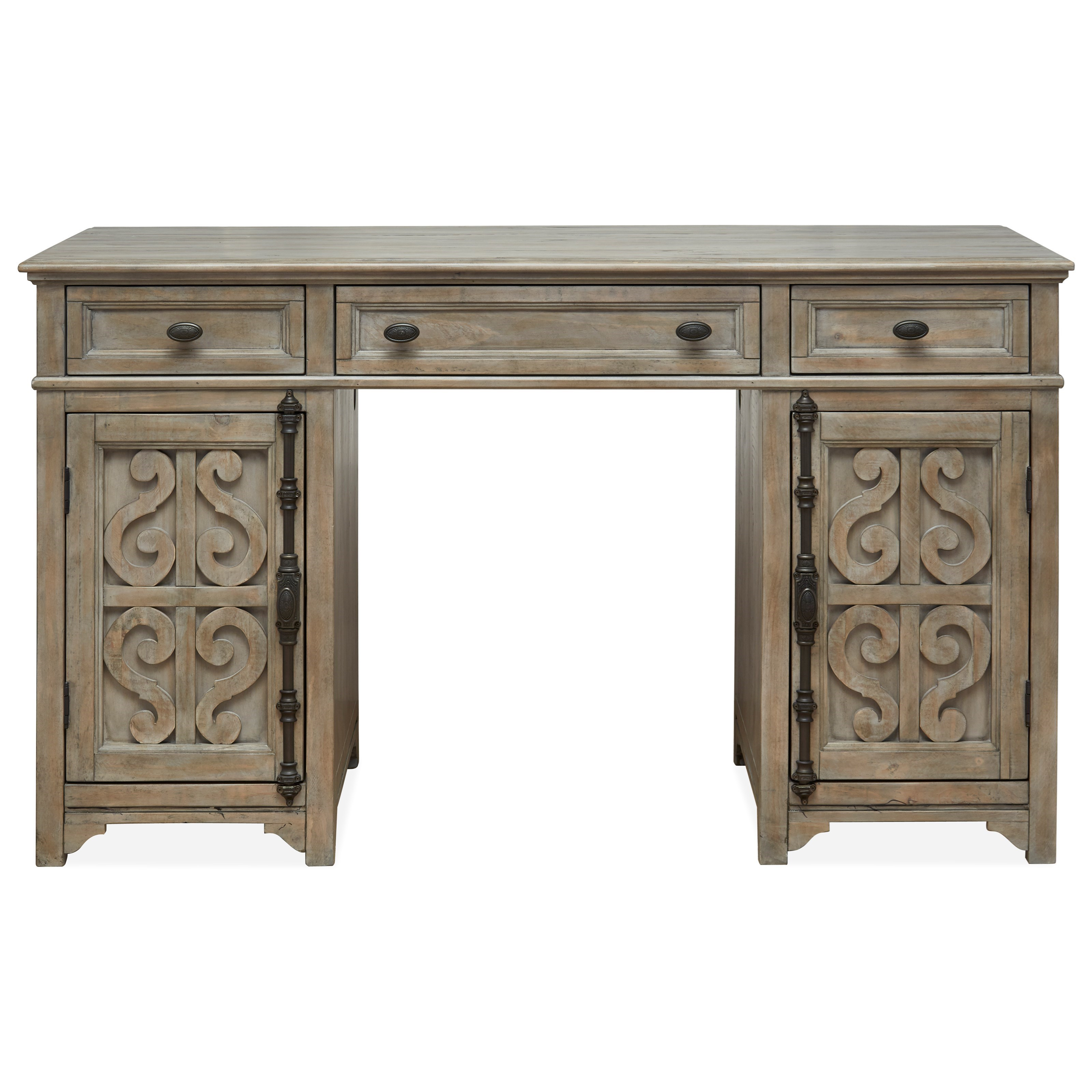 Relaxed Vintage Counter Height Standing Desk with Serpentine Carvings