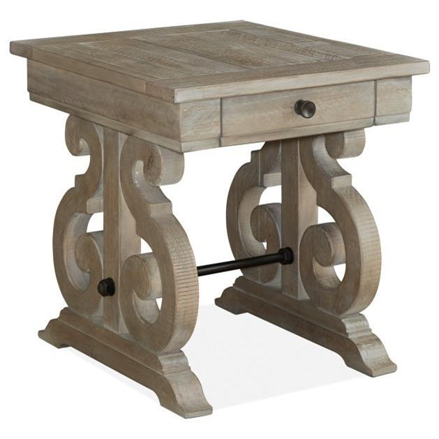 Relaxed Vintage Rectangular End Table with Storage Drawer