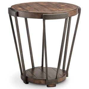 Round End Table with Metal Frame