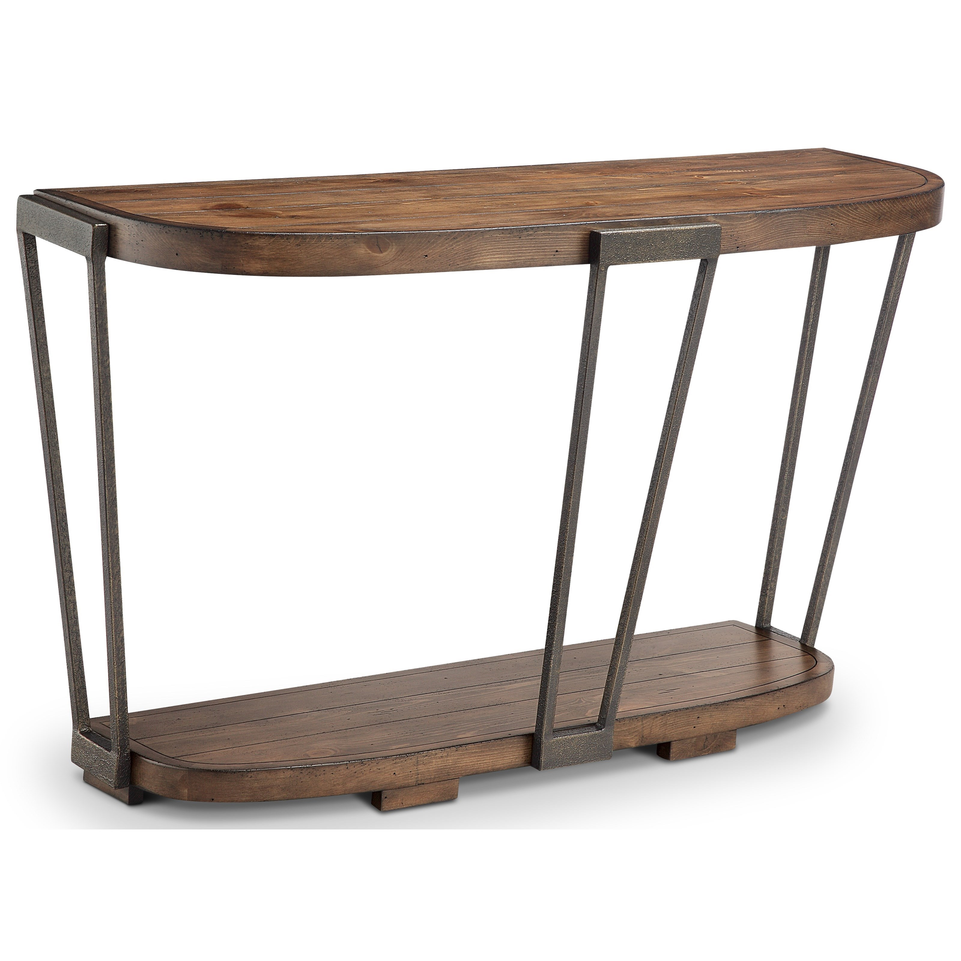 Demilune Sofa Table with 1 Bottom Shelf