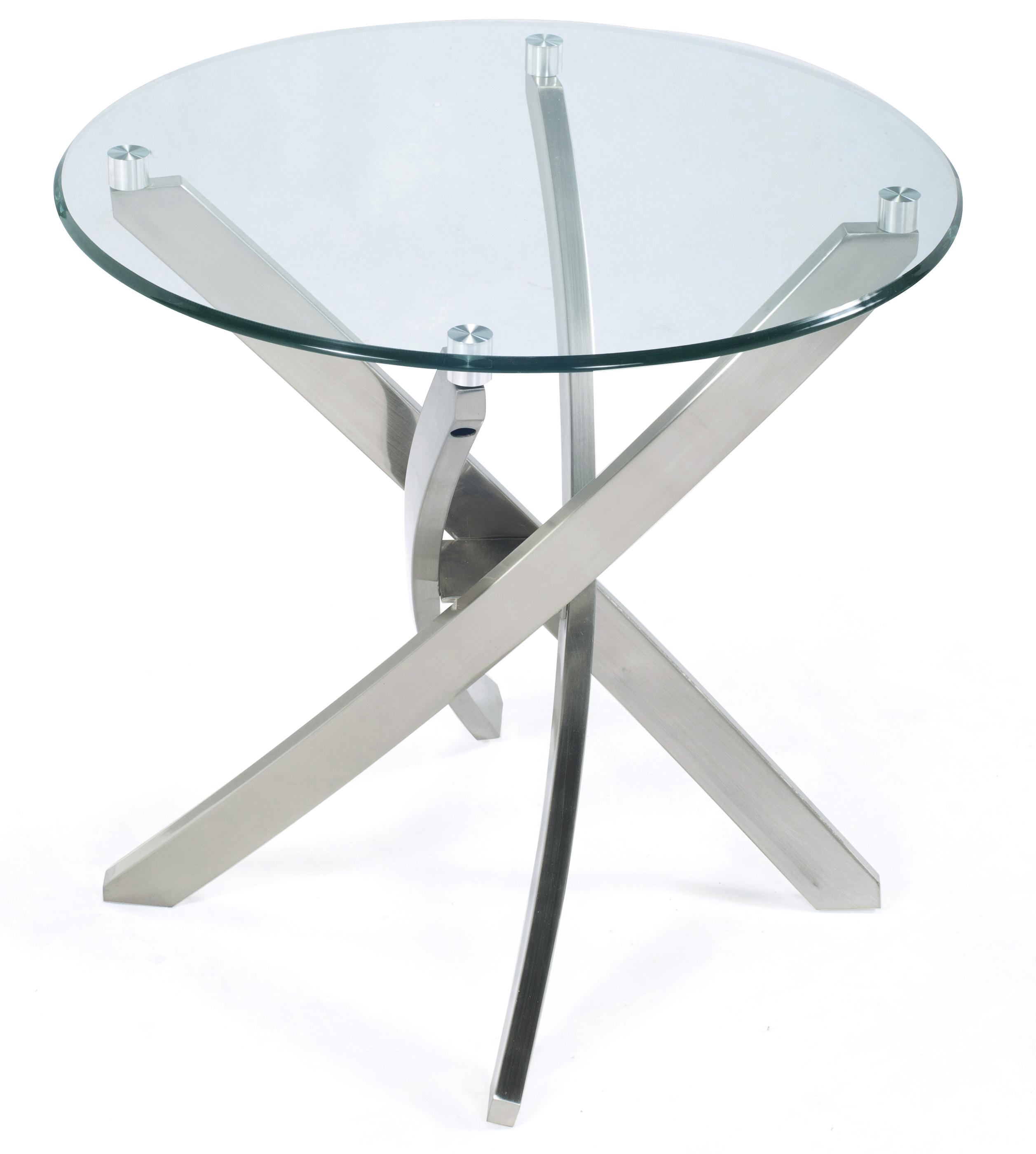 Round End Table with Strut Base and Tempered Glass Top