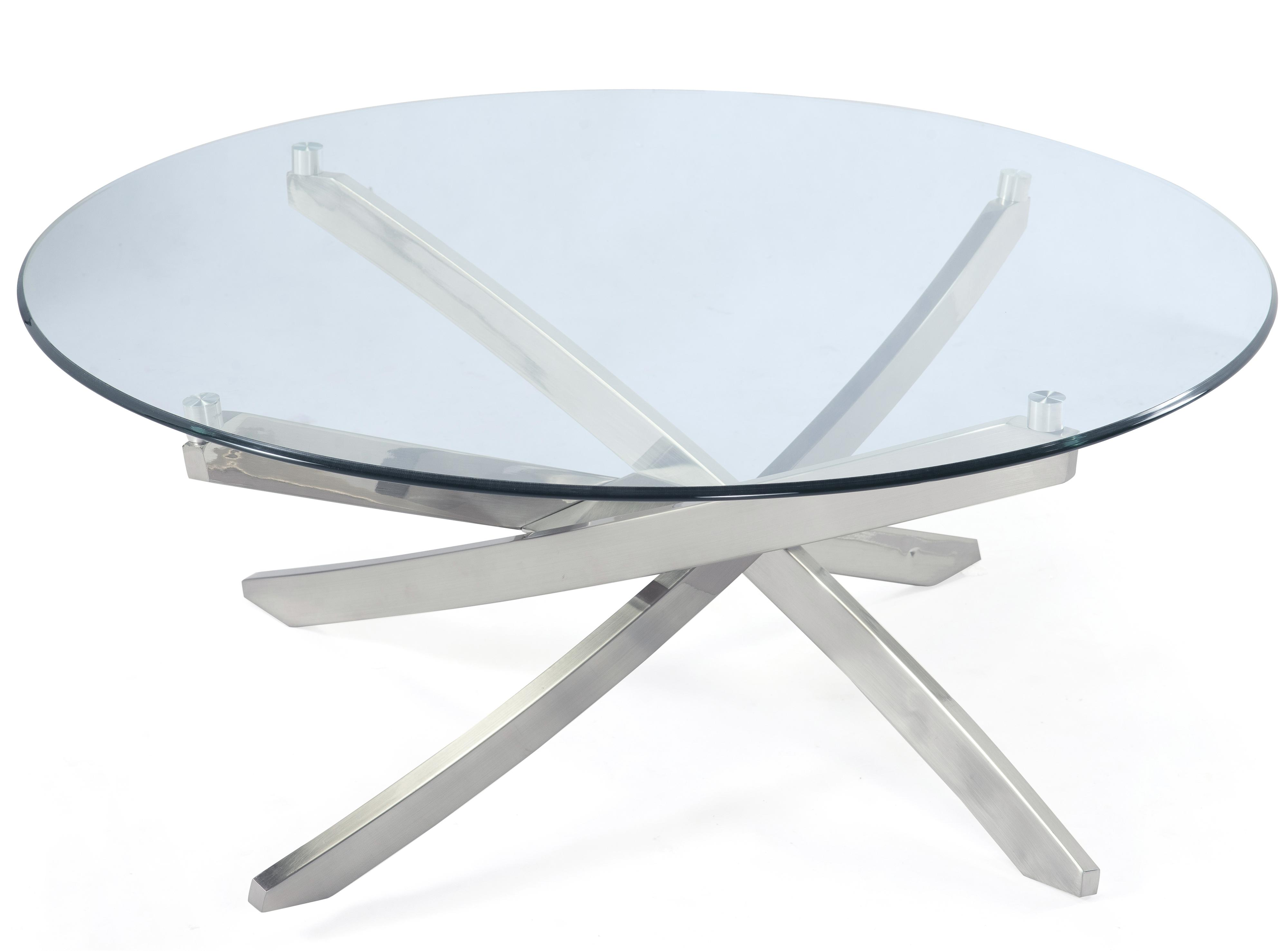 Round Cocktail Table with Strut Base and Tempered Glass Top