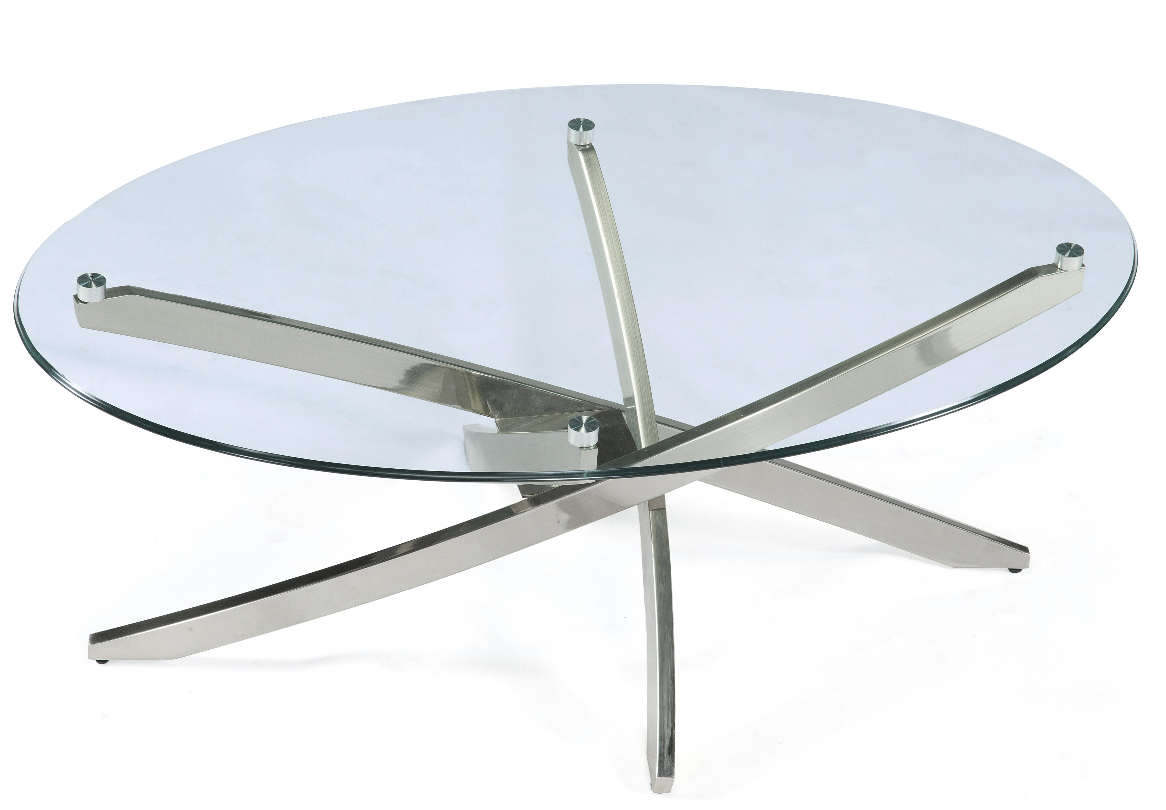 Oval Cocktail Table with Strut Base and Tempered Glass Top