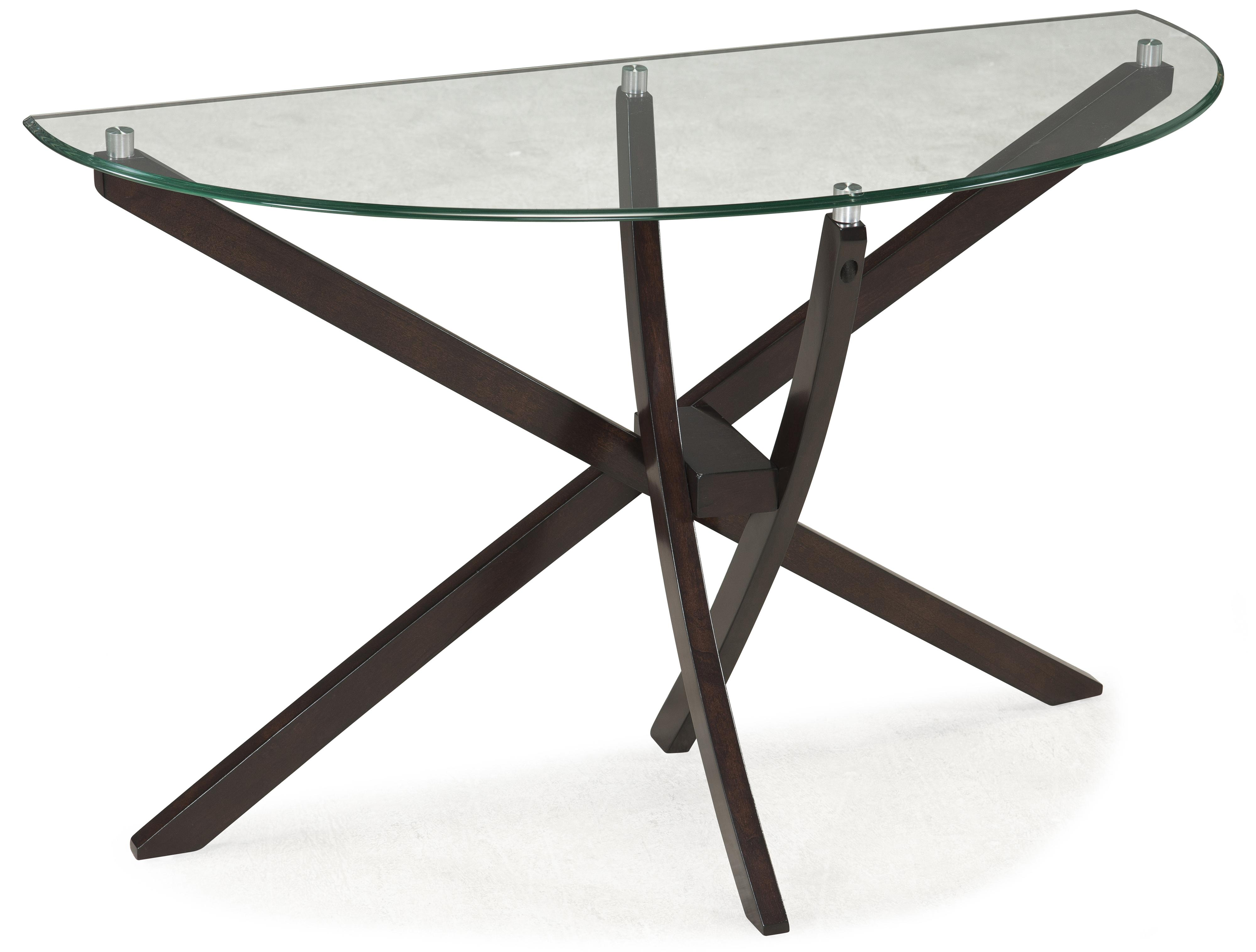 Demilune Sofa Table with Strut Base and Tempered Glass Top