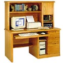 Single Pedestal Computer Desk with Hutch