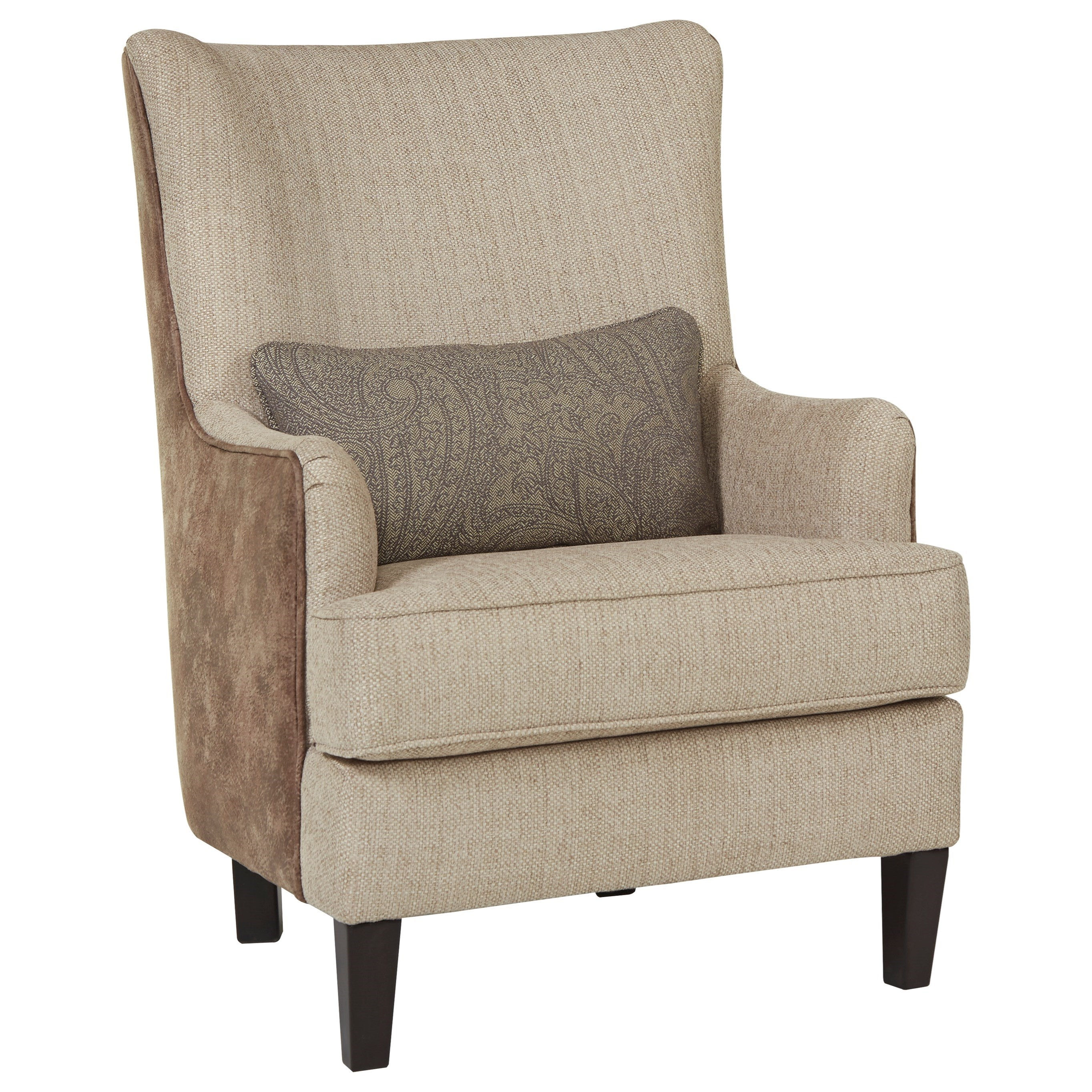 Modern Wing Back Accent Chair With Kidney Pillow