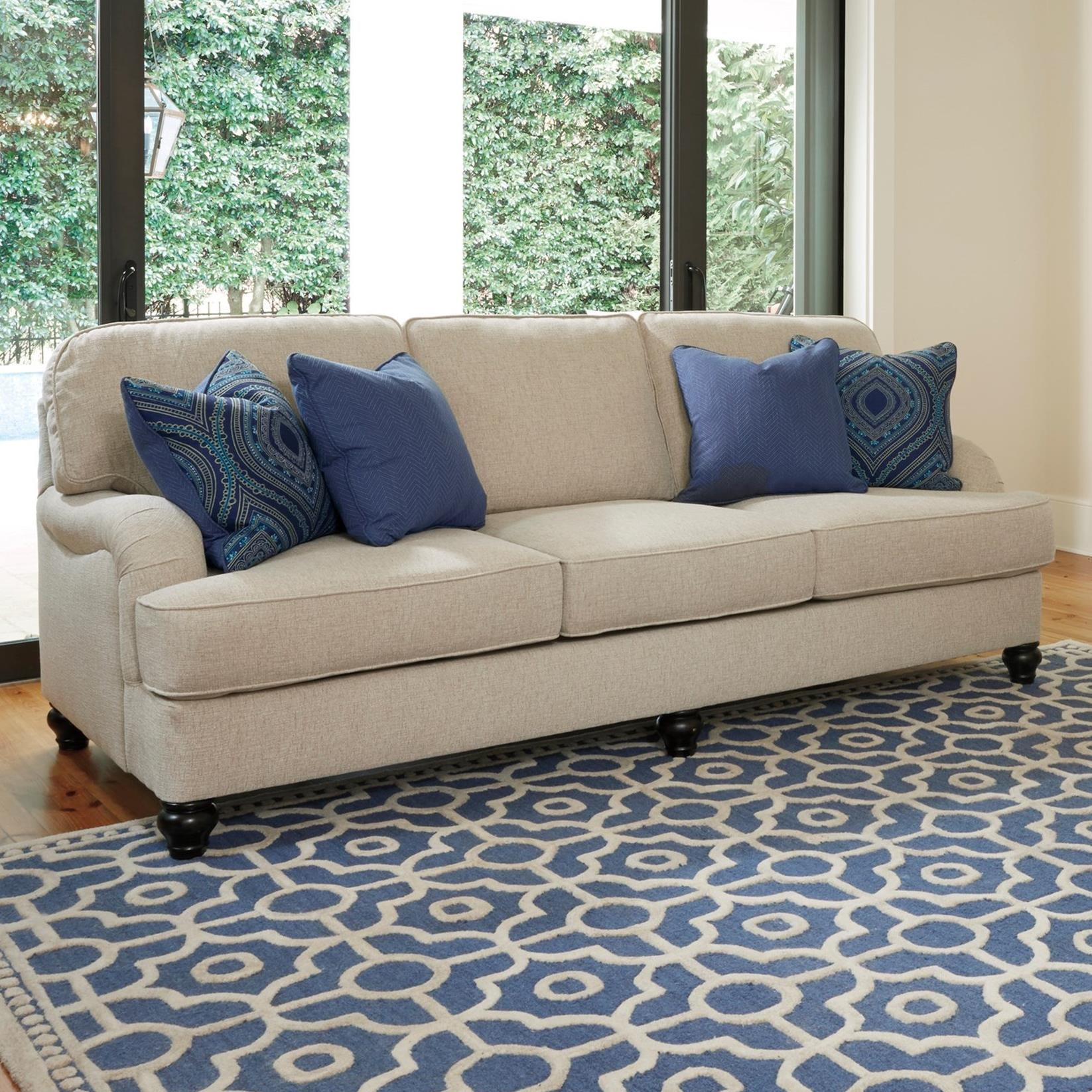 Queen Sofa Sleeper With Memory Foam Mattress & English Arms