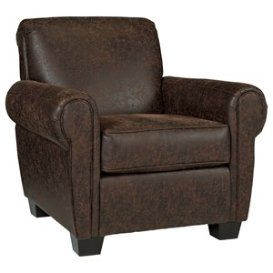 Brown Weathered Faux Leather Accent Chair
