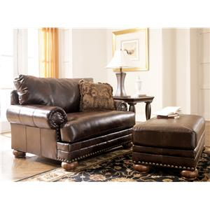 Signature Design by Ashley Furniture Chaling DuraBlend® - Antique Chair & 1/2 and Ottoman Set