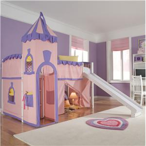 NE Kids School House Twin Junior Loft Bed and Castle Tent