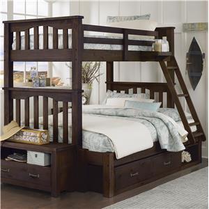 NE Kids Highlands Twin Over Full Harper Bunk Bed with Storage