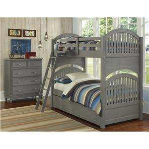 NE Kids Lake House Twin Trundle Bunk Bed
