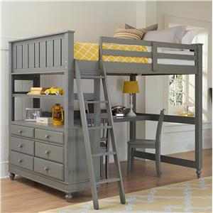 NE Kids Lake House Full Loft Bed with Desk