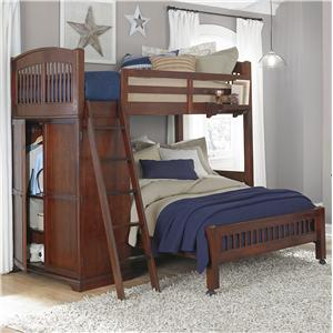 NE Kids Walnut Street Locker Loft with Full Lower Bed