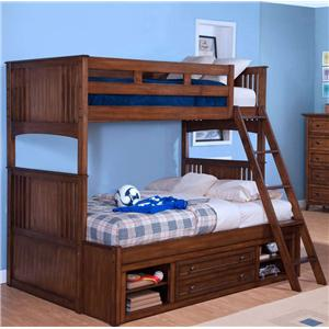 New Classic Logan Twin over Twin-to-Full Bunk Bed with Storage