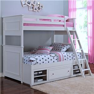 New Classic Megan Twin/Full Bunkbed with Storage