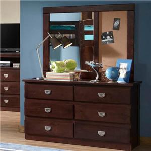 Oak Furniture West University OFW Dresser & Mirror