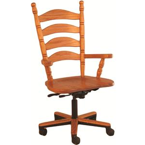 Oakwood Industries Casual Dining Ladder Back Gas Lift Arm Chair