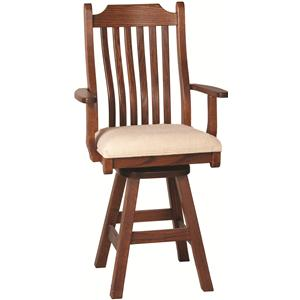 Oakwood Industries Casual Dining Mission Arm Barstool