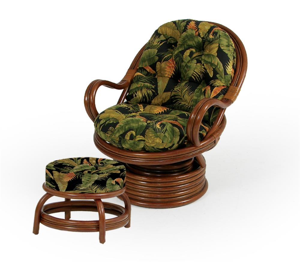Swivel Rocker Chair and Round Ottoman - Swivel Rocker Chair And Round Ottoman By Palm Springs Rattan