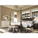Paula Deen by Universal Paula Deen Home King Savannah Poster Bed with 3 Post Options - Shown with Linen finish dresser and mirror