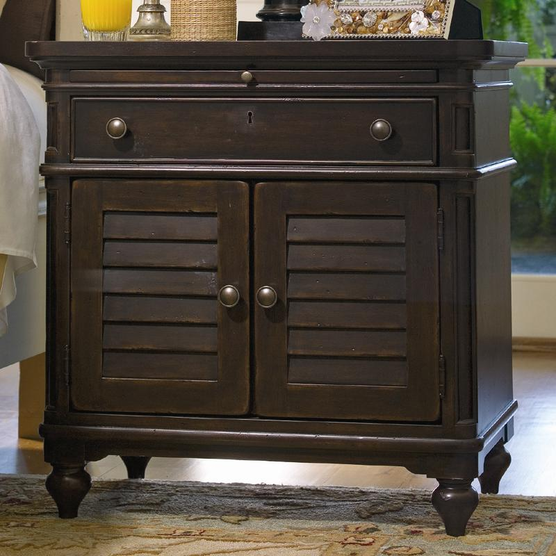 Louvered Door Nightstand with Pull-Out Shelf & Louvered Door Nightstand with Pull-Out Shelf by Paula Deen by ...