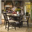 Paula Deen by Universal Paula Deen Home Gathering Table Set w/ 4 Counter Chairs - Item Number: 932652-BASE+TAB+4x932606