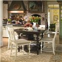 Paula Deen by Universal Paula Deen Home Gathering Table Set w/ 4 Counter Chairs - Item Number: 932652-BASE+TAB+4x996606