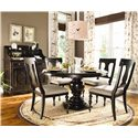 Universal Home Round Dining Table w/ 4 Splat Back Dining Side Chairs - Shown with Low Country Sideboard and Hutch