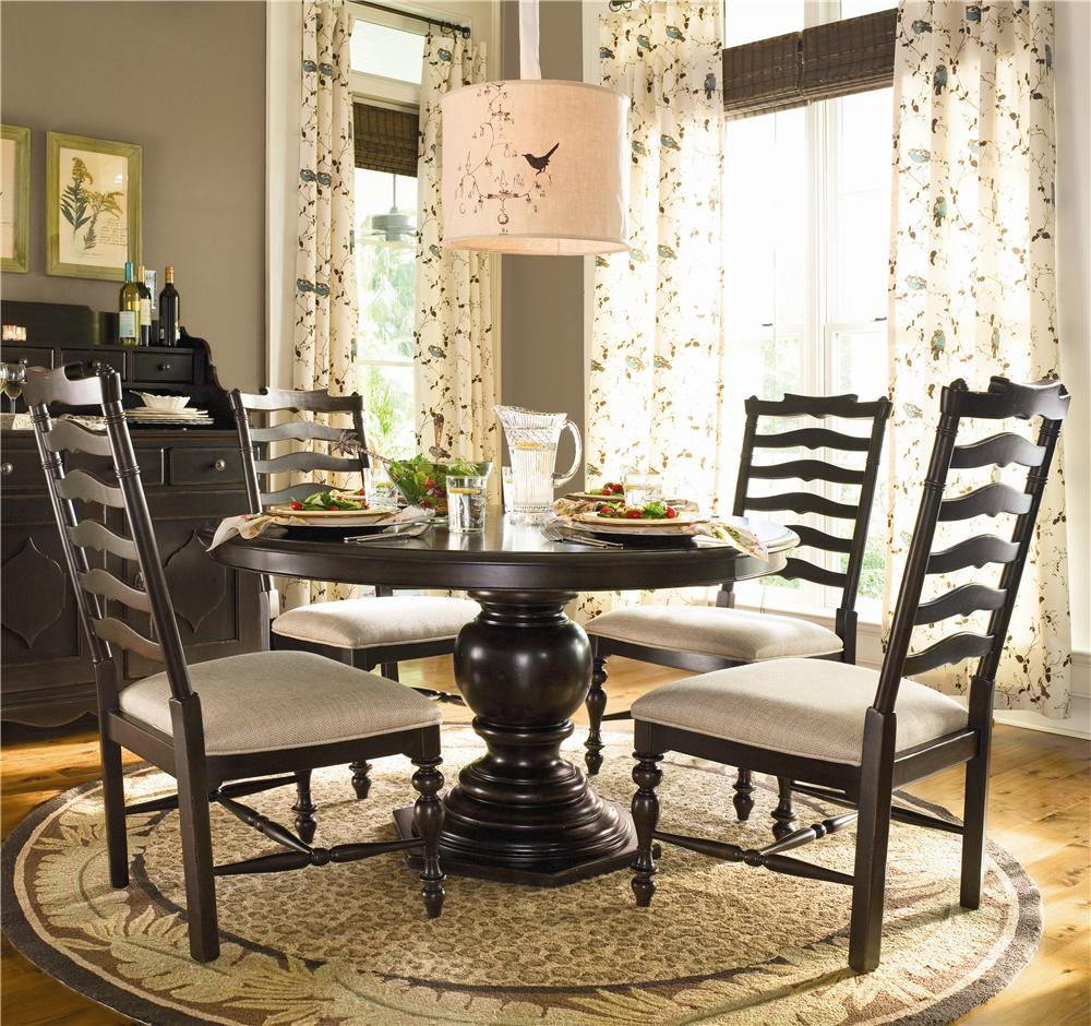 Ladder back chairs with cushions - Round Dining Table W 4 Ladder Back Side Chairs