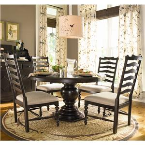 Paula Deen by Universal Paula Deen Home Round Dining Table w/ 4 Ladder Side Chairs