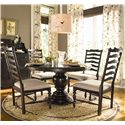 Paula Deen by Universal Paula Deen Home Round Dining Table w/ 4 Ladder Side Chairs - Item Number: 932655-BASE+TAB+4x932634
