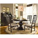 Paula Deen by Universal Paula Deen Home Round Dining Table w/ 4 Ladder Back Side Chairs - Shown with Low Country Sideboard and Hutch