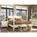 Paula Deen by Universal Paula Deen Home Bed End Bench with Upholstered Seat and Turned Legs - Shown with Savannah Poster Bed