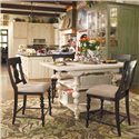 Paula Deen by Universal Paula Deen Home Counter Height Kitchen Gathering Table with Storage Baskets - Shown with Tobacco finish bar stools