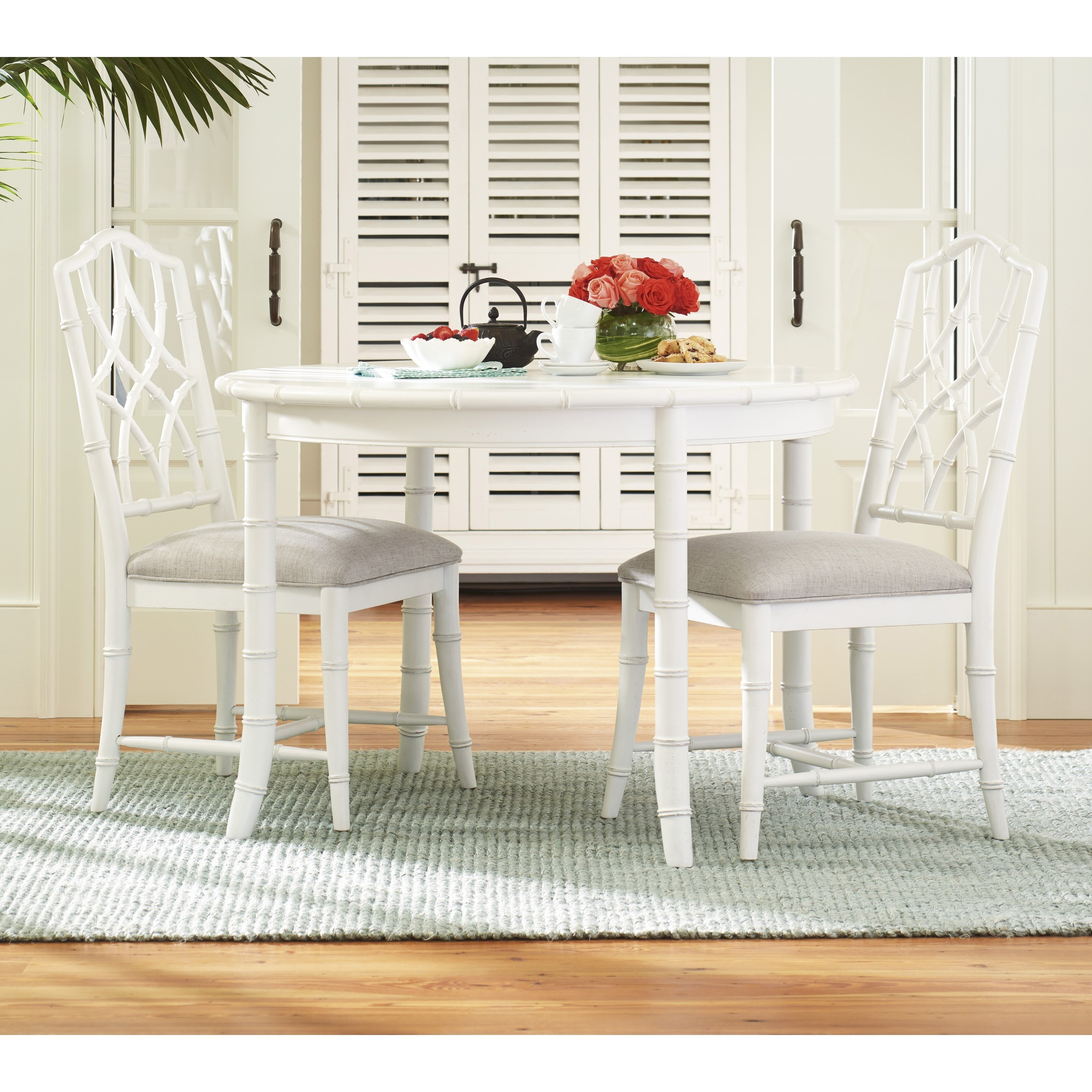 Three Piece Cottage Dining Set With Bamboo Inspired Framing