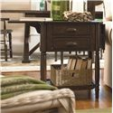 Universal Down Home Drop Leaf End Table with 2 Drawers - Shown with Drop Leaf Up