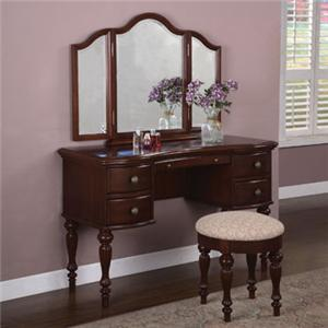 Powell Marquis Cherry Vanity, Mirror & Bench
