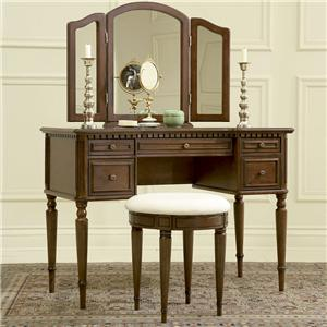 Powell Warm Cherry Vanity, Mirror and Stool