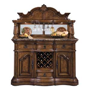 Pulaski Furniture San Mateo Marble Top Sideboard and Hutch