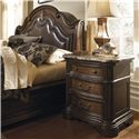 Pulaski Furniture Courtland  Traditional Laminated Marble Top Nightstand with Storage - Shown with Platform Bed Arched Headboard