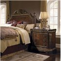 Pulaski Furniture Del Corto Traditional Bed Chest with Pilasters and Marble-Like Top - Shown with Poster Bed with Decorative Carved Shell