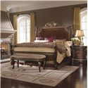 Pulaski Furniture Del Corto California King Traditional Poster Bed with Gold-Toned Trim and Decorative Veneer - Shown with Bed Bench & Nightstand